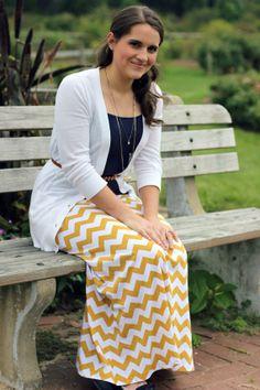Mustard Yellow Chevron Maxi Skirt For Women in size medium