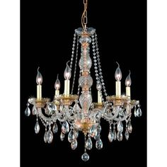 Verona Golden Shadow Six-Light Chandelier with Golden Shadow/Champagne Royal Cut Crystals