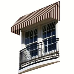 AWNTECH 10 ft. New Yorker Window Awning (44 in. H x 24 in. D) in Brown/Tan Stripe