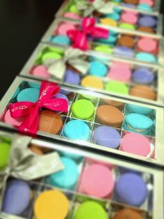 New Macaron Packaging, box of 10 with ribbon and paper bag. $18 per box of 10, buy 5 boxes & free delivery in Singapore via Cool TQ-Bin. Order Now: sales@abpatisserie.com