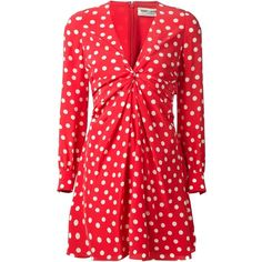 Saint Laurent gathered polka dot dress (181.150 RUB) ❤ liked on Polyvore featuring dresses, red, red ruched dress, red ruffle dress, long sleeve v neck dress, silk dress and long sleeve a line dress