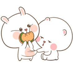 TuaGom : Puffy Bear & Rabbit by Tora Jung Cute Bunny Cartoon, Cute Cartoon Images, Cute Kawaii Animals, Cute Couple Cartoon, Cute Love Cartoons, Cute Cartoon Wallpapers, Cute Wallpaper Backgrounds, Cute Bear Drawings, Bunny Drawing