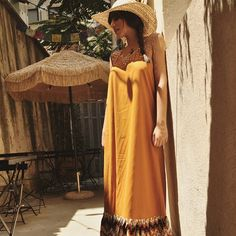 Ft.The maxi bohemian Triangle dress!  #bohochic #bohemian style dress #ruffles dress #maxi dress #mustard #open back dress