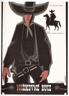 £0.99 EBAY AUCTION / Original Vintage Movie Poster AWKWARD HANDS Western Movie Poster / Mrázek, 1975. Made in Czechoslovakia.