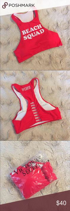 """High-Neck Swim Crop (Neon Candy Coral Swim) Style: High-Neck Swim Crop Top """"Beach Squad""""   VICTORIA'S SECRET SWIM PRICES ARE FIRM!   Bikini Tops = $30.00 Bikini Bottoms = $24.00   Bundle 2 items for 10% off! Bundle 3 or more items for 15% off!   *Stock photos show example of style only. Actual picture and color of item is shown in 1st photo.   Related: VS, VSX, Victoria's Secret, PINK, Swim, Bikini, Bathing Suit, Beachwear, Swimwear, Two Piece, Follow Me, Follow Game PINK Victoria's Secret…"""