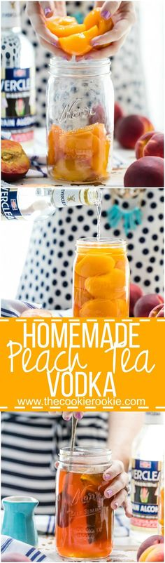 Homemade Peach Tea Vodka is an easy and fun DIY liqueur. Easily made by infusing Everclear with peaches and black tea, the perfect mixer for so many Summer cocktails! #craftbeer #beer