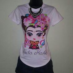 Gorgeous Frida Kahlo Tshirt Adorable baby Frida holding flowers. 100% polyester Tops Tees - Short Sleeve