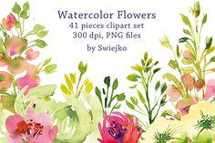 Watercolor Garden Flowers  by swiejko on @creativemarket