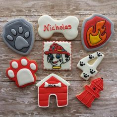 Paw patrol marshall cookie connection cookie inspiration в 2 Paw Patrol Cake, Paw Patrol Party, Paw Patrol Birthday, Dog Cookies, Cookies For Kids, Sugar Cookies, Minnie Mouse Rosa, Cartoon Cookie, Dog Cupcakes