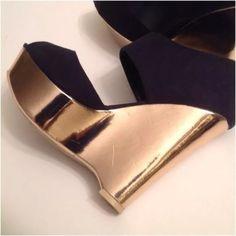 """Navy rose gold peep toe platform wedges Rose gold accented platform wedge. Approx 1.3/4"""" platform. Approx 3.25"""" heel. Forever 21 Shoes Platforms"""