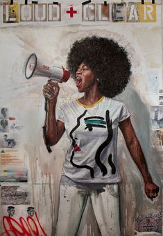 """Loud and Clear"" by Tim Okamura - (strong women fighters, rioters and protesters in art"