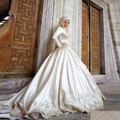 Китай высокого шеи лонг мусульманам рукавом свадебные платья хиджаб ливан атласа арабский свадебные платья свадебные платья купить на AliExpress