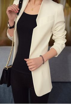 - Fit: Slim - Type : Blazer - Material: Cotton,Modal Acetate - Clothing Length: Long - Name: MG - Fabric Type: Broadcloth - Collar: Notched - Gender: Women - Sleeve Type: Regular - Pattern Type: Solid