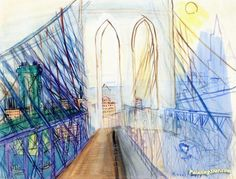 The Brooklyn Bridge Artwork by Raoul Dufy Hand-painted and Art Prints on canvas for sale,you can custom the size and frame