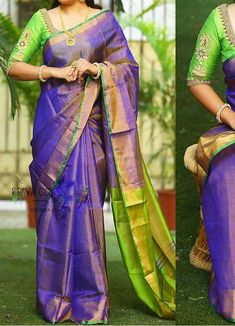 Uppada Tissue Blue Color Saree Body Colour: :Blue Pallu Colour :Green Blouse Colour :Same As Blouse Washing Care :Only Dry Wash Blue Silk Saree, Raw Silk Saree, Green Saree, Green Blouse, Hand Work Blouse Design, Fancy Blouse Designs, Bridal Blouse Designs, Uppada Pattu Sarees, Silk Saree Kanchipuram