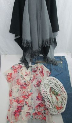 Plus Size Mixed Clothing Lot of 4 Jeans Blouse Cover Up & Scarf Size 20 & 2X #Venezia #Blouse