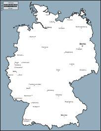 Deutschland: Kostenlose Karten, Kostenlose stumme Karten, kostenlose unausgefüllt Landkarten, kostenlose hochauflösende Umrisskarten
