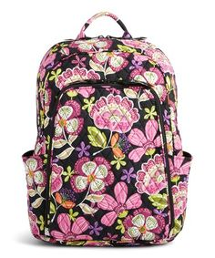 Vera Bradley Laptop Backpack Updated Version with Solid Color Interiors  Pirouette Pink with Black Interiors     Check out the image by visiting the  link. ed4bd2810f16e