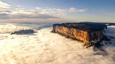 Monte Roraima en Brasil , su parte superior es una gran meseta. Se cree que está entre las formaciones geológicas más antiguas del mundo, y su meseta fue probablemente creada por los vientos y las lluvias. La meseta es a menudo camuflada con las nubes. Tiene un número particularmente elevado de especies endémicas de flora y fauna - especies que no se pueden encontrar en ningún otro lugar en la Tierra.