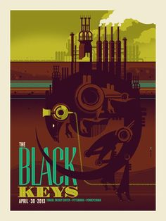 Tonight's The Black Keys Poster from Pittsburgh by Tom Whalen