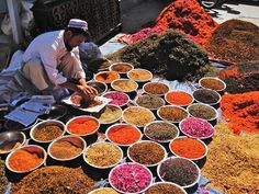 Assorted spices, flowers, herbs used for tea. Open market in Kashgar,Xinjiang - China Shanghai, Urumqi, Making Essential Oils, Open Market, Buy Tea, Flower Tea, China, Le Far West, Silk Road