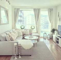 #Living #room #decor #white #elegant #cozy