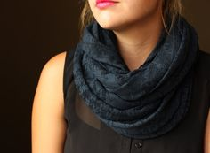 Navy Lace Circle scarf with a flower pattern by slyscarves on Etsy, $25.00