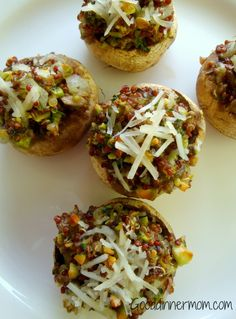 Stuffed Mushrooms with Quinoa (quinoa, water, button or cremini mushrooms, olive oil, onion, pistachios, fresh parsley, dried oregano, salt, & red pepper flakes).