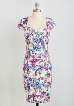 Fleur and Peace Dress. Peace, love, and darling dresses will be all you need when you lay eyes on this textured sheath dress! #multi #modcloth