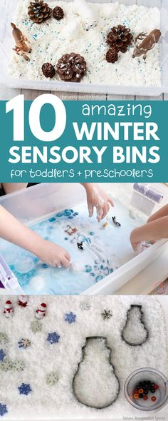 The best winter sensory bins for toddlers and preschoolers! These easy winter sensory bins provide fun and educational sensory play that your toddler will love. preschool Winter Sensory Bins for Toddlers and Preschoolers Toddler Sensory Bins, Sensory Tubs, Sensory Boxes, Baby Sensory, Toddler Preschool, Preschool Winter, Sensory Play For Toddlers, Preschool Science, Toddler Play