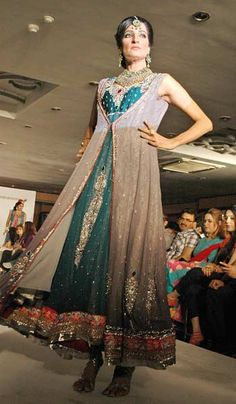 LAHORE: Model walks down on the ramp during a fashion show at Sukh Chan Club.