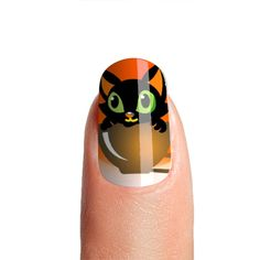Halloween Cute Black Cat in Teacup Orange Nails | Glossy Acrylic Press on Nails High Quality | Nail Glue-File-Cuticle Pusher Included by nailpassionista on Etsy