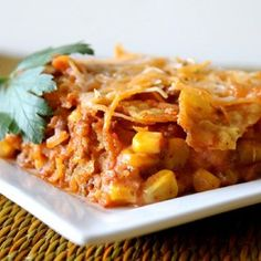 By far the easiest, quickest way to enjoy the taste and crunch of nachos in a meal.  Allrecipes.com