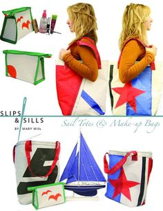 Totes made from recycled sails off boats in Nova by Slipsandsills, $45.00 Would make a great beach bag, Can't wait to take my little guy to the beach!