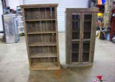 Old barn wood ideas ~ Barn Wood Cabinet and Bookcase. Barn Wood Crafts, Barn Wood Projects, Old Barn Wood, Pallet Projects, Barn Wood Cabinets, Blue China Cabinet, Pallet Barn, Homemade Furniture, Reclaimed Furniture