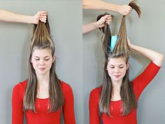 Step 1: Take your thumbs or a comb right over your ears and trace all the way around the back of your head to select the portion of hair for the top part ...