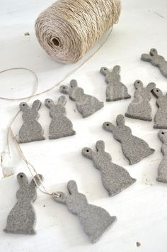 ❤︎   felt bunny tags  -  or string together for a garland   -  basiclabelsweden