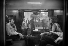 aconversationoncool:  Paul McCartney and Mick Jagger traveling to Bangor, 1967.