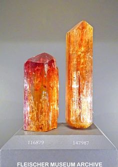 Imperial Topaz, approximately 4.4 cm and 5.3 cm - Ouro Preto, Eastern Brazilian Pegmatite Province, Minas Gerais, Brazil courtesy of the Smithsonian National Museum of Natural History. Fleischer Museum Archive photo.