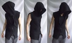 NoSleeves Hoodie ( Sleeveless handmade fashionable vest hoodie with collar, large hood and 2 slider zipper)