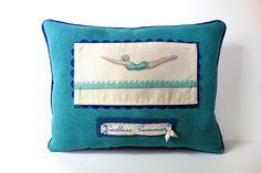 Coastal pillow beach house pillow retro by JoJosArtisticDesign, $45.00