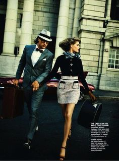 """""""The Getaway"""": Mignonne and Damiene Play Bonnie and Clyde by Margaretha Olschewski for Cosmo"""