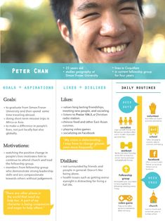 User persona with daily routine. If you like UX, design, or design thinking… Persona Ux, Customer Persona, Buyer Persona, Web Design, Tool Design, Resume Design, Design Process, Design Ideas, Experience Map