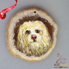 HAND PAINTED POPPY DOG AGATE SLICE GEMSTONE NECKLACE PENDANT ZL80 20119 #ZL #PENDANT