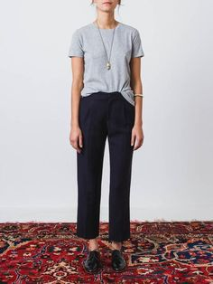 Navy, fancy-weave trousers made in an Italian linen-cotton blend fabric.These…