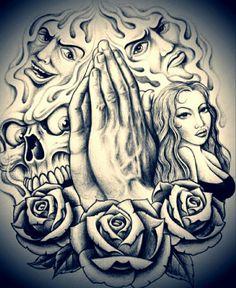 Chicano Art Tattoos, Chicano Drawings, Gangsta Tattoos, Body Art Tattoos, Tattoo Drawings, Sleeve Tattoos, Evil Tattoos, Chicanas Tattoo, Chest Tattoo