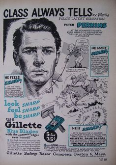 Vintage Advertisement masquerading as a biographical sports cartoon