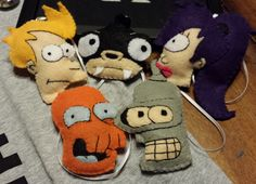Futurama felt stitched ornaments!