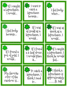 24 free St. Patrick's Day Conversation starters for the family. Also make great writing prompts.