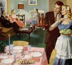 ... The Bride's First Dinner Party', artwork by Ray Prohaska. 1952